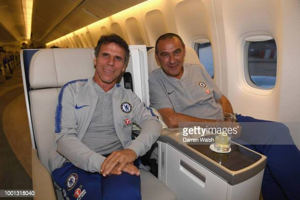 Gianfranco Zola who has been named as Assistant Head Coach to work with Maurizio Sarri the newly appointed Chelsea Head Coach pose for a photo before...
