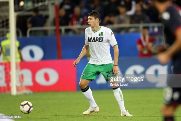 Giangiacomo Magnani of Sassuolo in action during the serie A match between Cagliari and US Sassuolo at Sardegna Arena on August 26 2018 in Cagliari...