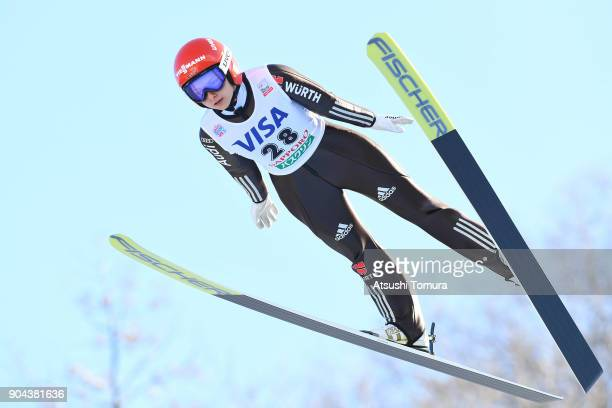 Gianina Ernst of Germany competes in the Ladies normal hill individual during day one of the FIS Ski Jumping Women's World cup at Miyanomori Ski Jump...
