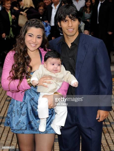 Gianina Maradona and Sergio Kun Aguero leave the Nuestra Senora de Balvanera Church with their son Benjamin after his christening on June 20 2009 in...