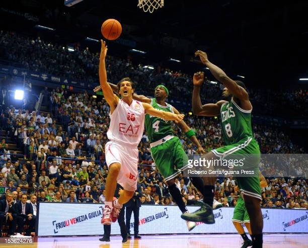 Gianluca Basile of Armani competes with Jeff Green and Jason Terry of Celtics during the NBA Europe Live game between EA7 Emporio Armani Milano v...