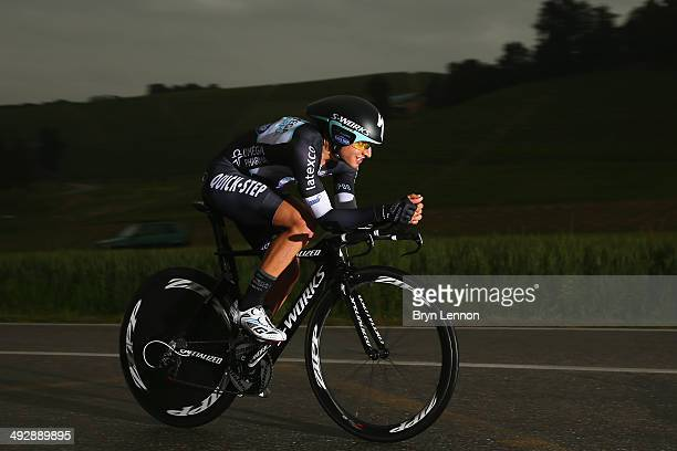 Gianluca Brambilla of Italy and Omega PharmaQuickstep in action during the twelfth stage of the 2014 Giro d'Italia a 42km Individual Time Trial stage...