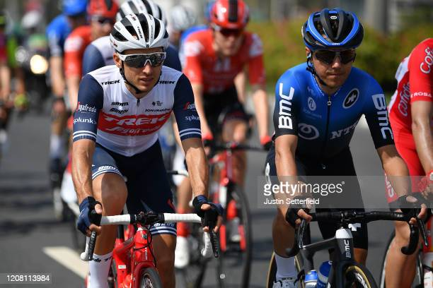 Gianluca Brambilla of Italy and Team Trek Segafredo / Domenico Pozzovivo of Italy and NTT Pro Cycling Team / Peloton / during the 6th UAE Tour 2020...