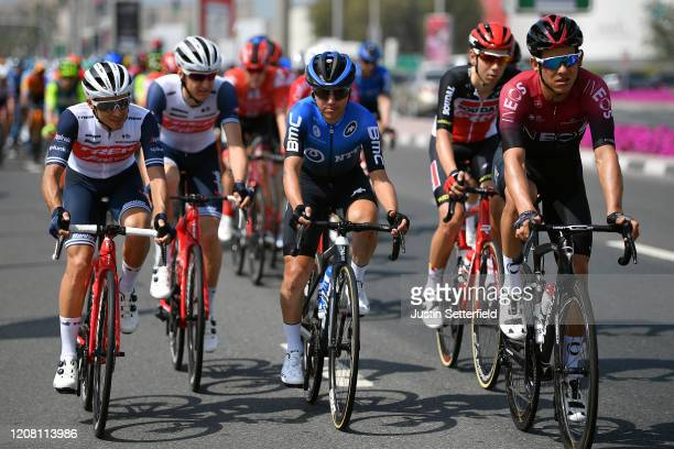 Gianluca Brambilla of Italy and Team Trek Segafredo / Domenico Pozzovivo of Italy and NTT Pro Cycling Team / Andrey Amador Bikkazakova of Costa Rica...