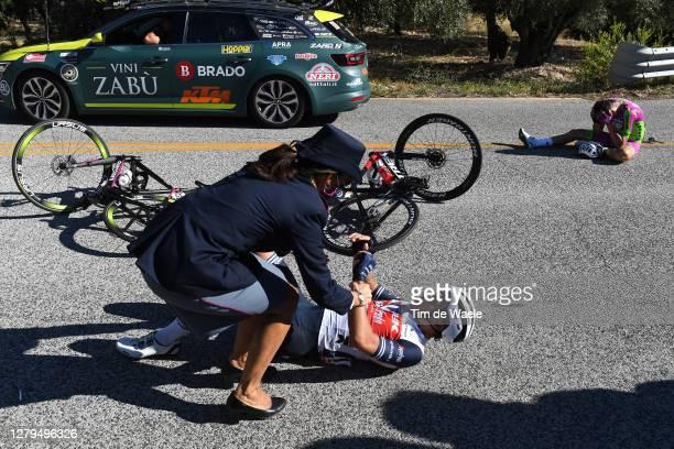Gianluca Brambilla of Italy and Team Trek - Segafredo / Police / Giovanni Carboni of Italy and Team Bardiani CSF Faizane / Crash / Injury /during the...
