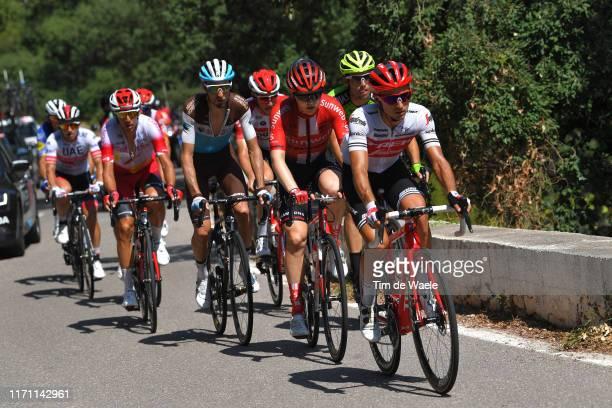 Gianluca Brambilla of Italy and Team Trek-Segafredo / Michael Storer of Australia and Team Sunweb / Quentin Jauregui of France and Team AG2R La...