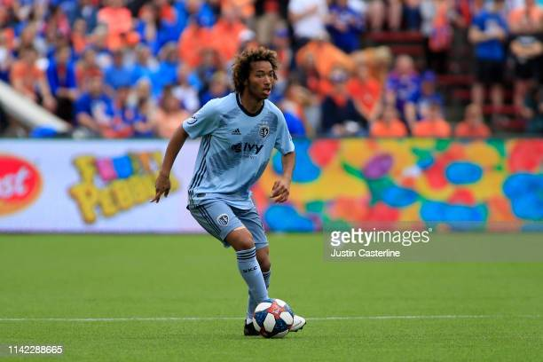 Gianluca Busio of the Sporting Kansas City controls the ball in the match against the Cincinnati FC during the first half at Nippert Stadium on April...