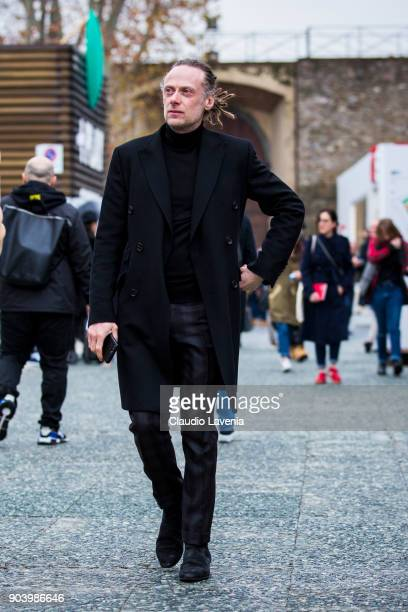 Gianluca Cantaro is seen during the 93 Pitti Immagine Uomo at Fortezza Da Basso on January 11 2018 in Florence Italy