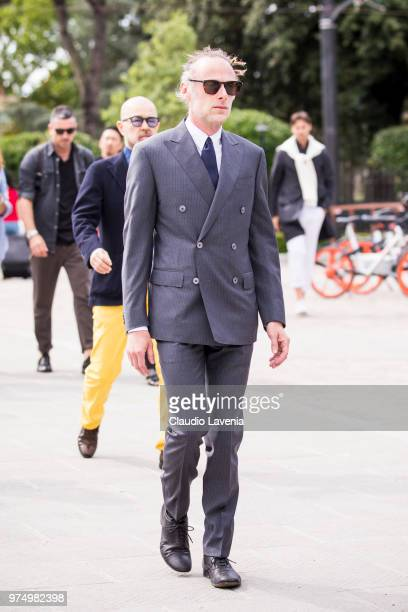 Gianluca Cantaro wearing a grey suit is seen during the 94th Pitti Immagine Uomo at Fortezza Da Basso on June 14 2018 in Florence Italy