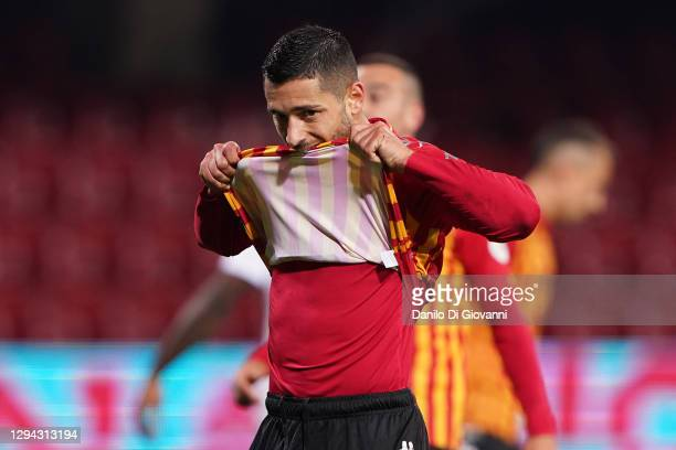 Gianluca Caprari of Benevento Calcio reacts after failing a penalty kick during the Serie A match between Benevento Calcio and AC Milan at Stadio...