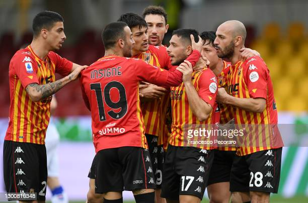 Gianluca Caprari of Benevento celebrates with team mates Roberto Insigne and Pasquale Schiattarella after scoring their side's first goal during the...