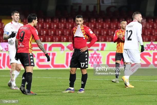 Gianluca Caprari of Benevento reacts after missing a penalty during the Serie A match between Benevento Calcio and AC Milan at Stadio Ciro Vigorito...