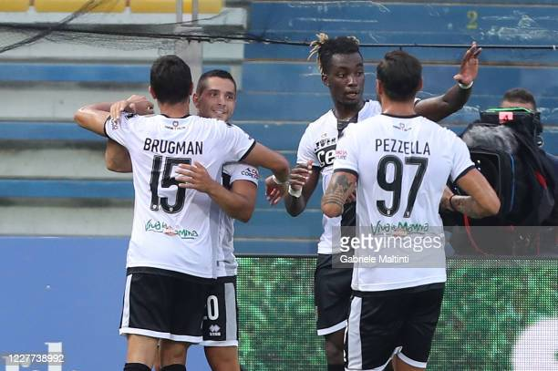 Gianluca Caprari of Parma FC celebrates after scoring a goal during the Serie A match between Parma Calcio and SSC Napoli at Stadio Ennio Tardini on...