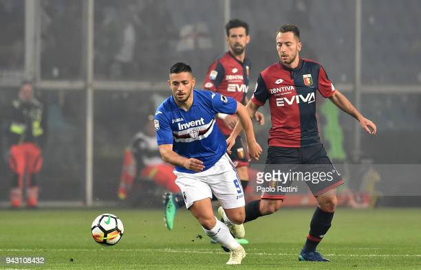 Gianluca Caprari of Sampdoria and Andrea Bertolacci of Genoa during the serie A match between UC Sampdoria and Genoa CFC at Stadio Luigi Ferraris on...