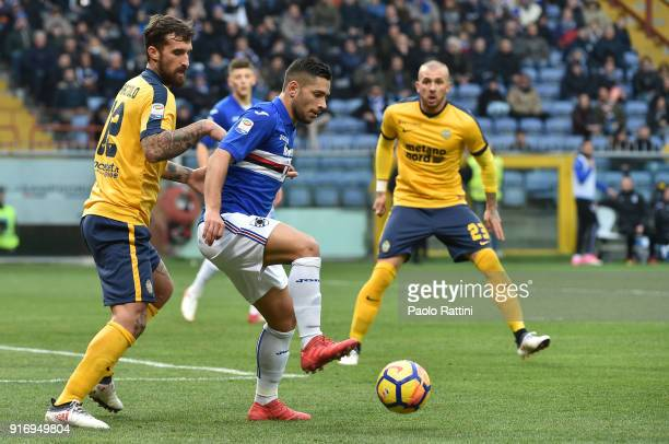 Gianluca Caprari of Sampdoria and Antonio Caracciolo of Hellas Verona during the serie A match between UC Sampdoria and Hellas Verona FC at Stadio...