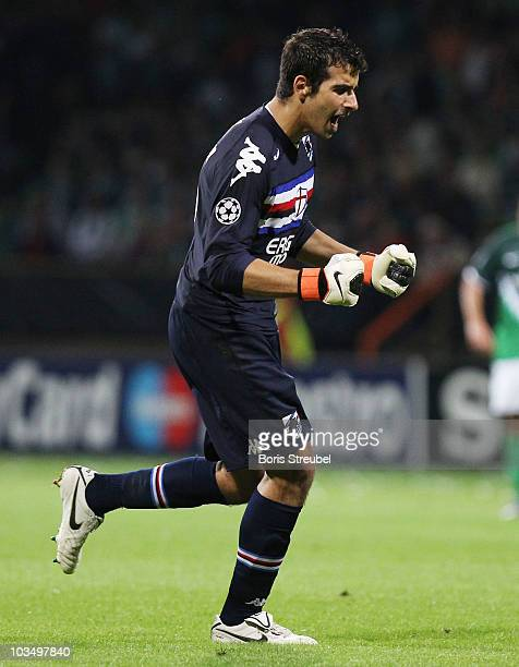 Gianluca Curci celebrates during the Uefa Champions League qualifying match between Werder Bremen and Sampdoria Genua at Weser Stadium on August 18...