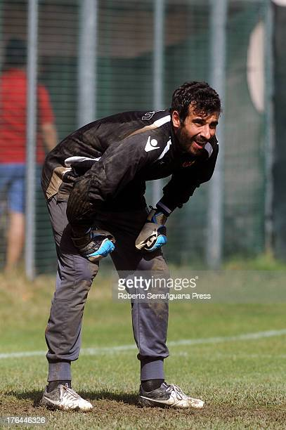 Gianluca Curci goalkeeper of Bologna fc in action during the preseason friendly match between FC Bologna and Carpi FC on August 3 2013 in Sestola...