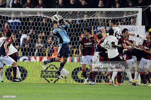 Gianluca Curci goalkeeper of Bologna FC in action during the Serie A match between Bologna FC and Torino FC at Stadio Renato Dall'Ara on April 6 2013...