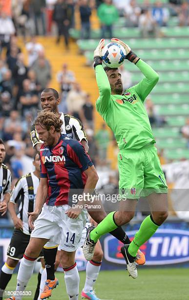 Gianluca Curci goalkeeper of Bologna FC in action during the Serie A match between Udinese Calcio and Bologna FC at Stadio Friuli on September 15...