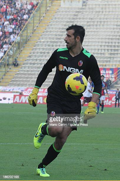 Gianluca Curci goalkeeper of Bologna FC in action during the Serie A match between Bologna FC and AS Livorno Calcio at Stadio Renato Dall'Ara on...