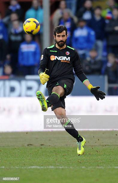 Gianluca Curci goalkeeper of Bologna FC in action during the Serie A match UC Sampdoria and Bologna FC at Stadio Luigi Ferraris on January 26 2014 in...