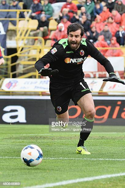 Gianluca Curci goalkeeper of Bologna FC in action during the Serie A match between Bologna FC and Cagliari Calcio at Stadio Renato Dall'Ara on March...