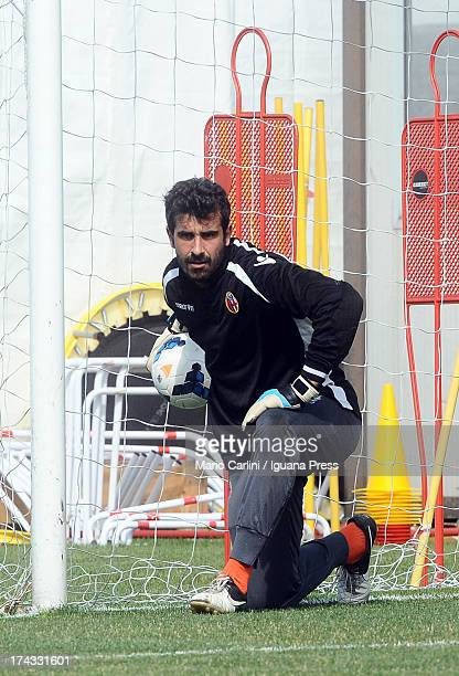 Gianluca Curci goalkeeper of Bologna FC in action during the warm up before the beginning of the preseason friendly match between Bologna FC and...