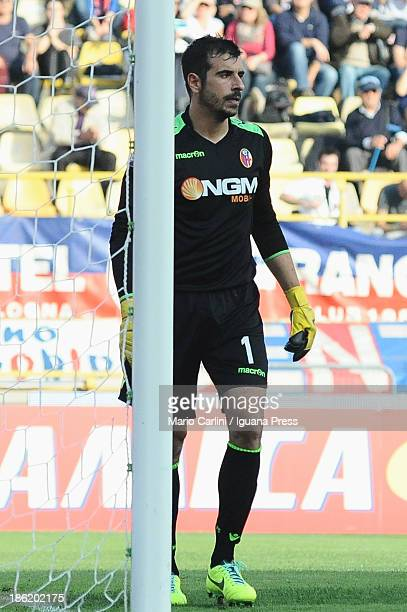 Gianluca Curci goalkeeper of Bologna FC looks on during the Serie A match between Bologna FC and AS Livorno Calcio at Stadio Renato Dall'Ara on...