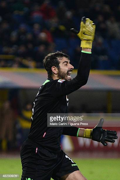 Gianluca Curci goalkeeper of Bologna FC reacts during the Serie A match between Bologna FC and FC Internazionale Milano at Stadio Renato Dall'Ara on...