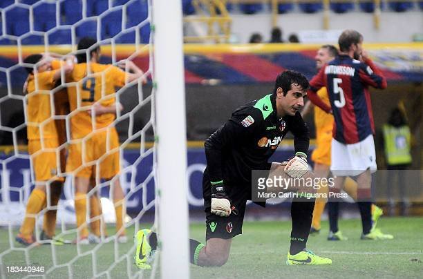 Gianluca Curci goalkeeper of Bologna FC shows his dejection during the Serie A match between Bologna FC and Hellas Verona FC at Stadio Renato...