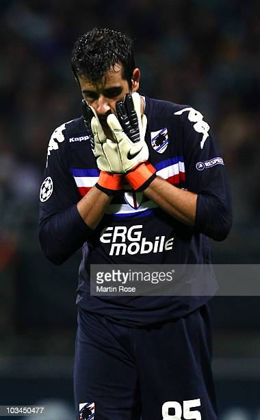 Gianluca Curci goalkeeper of Genua reacts during the Uefa Champions League qualifying match between Werder Bremen and Sampdoria Genua at Weser...