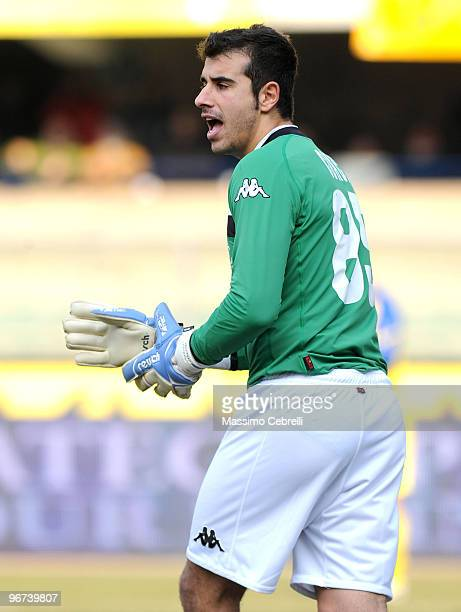 Gianluca Curci of AC Siena reacts during the Serie A match between AC Chievo Verona and AC Siena at Stadio Marc'Antonio Bentegodi on February 14 2010...
