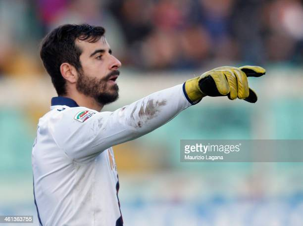 Gianluca Curci of Bologna during the Serie A match between Calcio Catania and Bologna FC at Stadio Angelo Massimino on January 6 2014 in Catania Italy