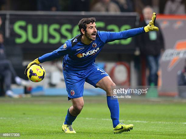 Gianluca Curci of Bologna FC during the Serie A match between AC Milan and Bologna FC at San Siro Stadium on February 14 2014 in Milan Italy