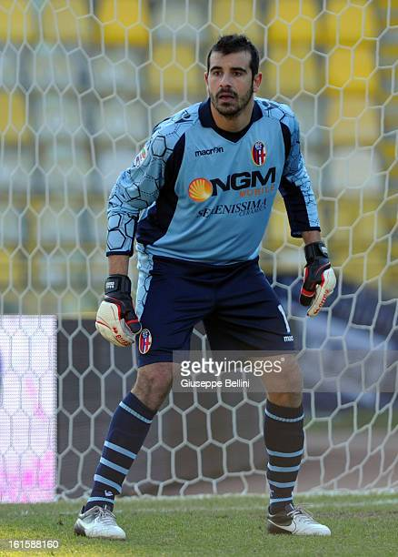 Gianluca Curci of Bologna in action during the Serie A match between Bologna FC and AC Siena at Stadio Renato Dall'Ara on February 10 2013 in Bologna...