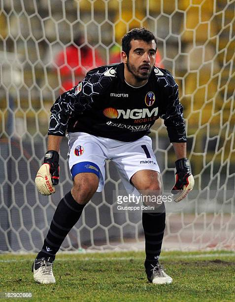 Gianluca Curci of Bologna in action during the Serie A match between Bologna FC and ACF Fiorentina at Stadio Renato Dall'Ara on February 26 2013 in...