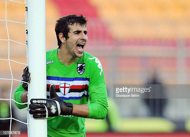 Gianluca Curci of Sampdoria in action during the Serie A match between Lecce and Sampdoria at Stadio Via del Mare on November 21 2010 in Lecce Italy