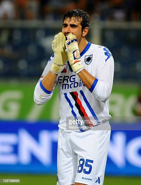 Gianluca Curci of UC Sampdoria reacts during the Serie A match between UC Sampdoria and SS Lazio at Stadio Luigi Ferraris on August 29 2010 in Genoa...