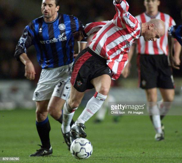 Gianluca Festa of Middlesbrough fouls Chris Marsden of Southampton and receives a red card during their FA Barclaycard Premiership match at St Mary's...