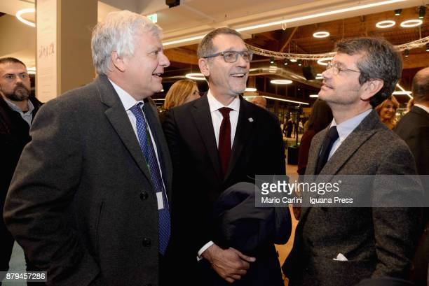 Gianluca Galletti italian Minister for agricolture and ambient and Virginio Merola Mayor of Bologna and Andrea Segre President of FICO attends the...