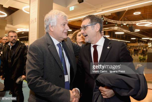 Gianluca Galletti italian Minister for agricolture and ambient and Virginio Merola Mayor of Bologna attends the FICO Eataly World Agri Food park...