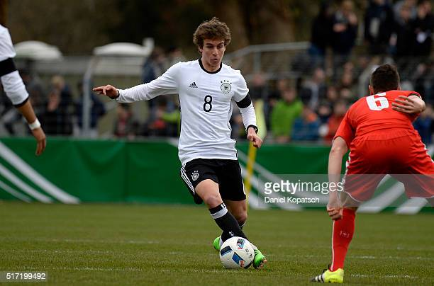 Gianluca Gaudino of Germany controls the ball during the U20 International Friendly match between Germany and Switzerland at Moeslestadion on March...