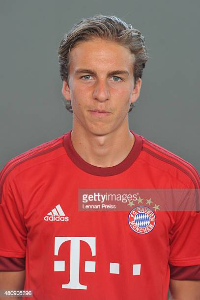 Gianluca Gaudino poses during the team presentation of FC Bayern Muenchen at Bayern's training ground Saebener Strasse on July 16 2015 in Munich...