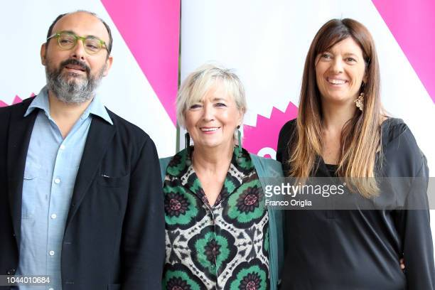 Gianluca Giannelli Piera Detassis and Fabia Bettini attend the Alice Nella Città Photocall at the Maxxi Museum on October 1 2018 in Rome Italy