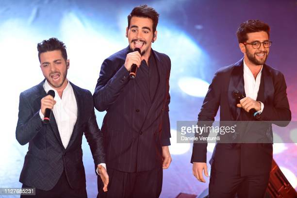 Gianluca Ginoble Ignazio Boschetto and Piero Barone from Il Volo perform on stage during the first night of the 69th Sanremo Music Festival at Teatro...