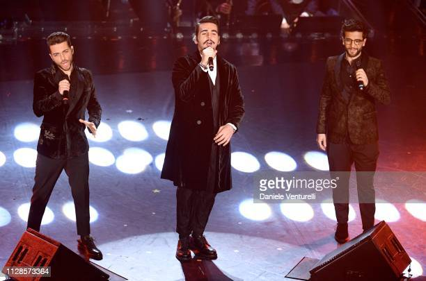 Gianluca Ginoble Ignazio Boschetto and Piero Barone from Il Volo on stage during the closing night of the 69th Sanremo Music Festival at Teatro...