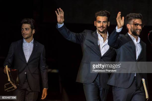 Gianluca Ginoble Ignazio Boschetto and Piero Barone of Il Volo perform on stage during Lucca Summer Festival 2017 on July 21 2017 in Lucca Italy