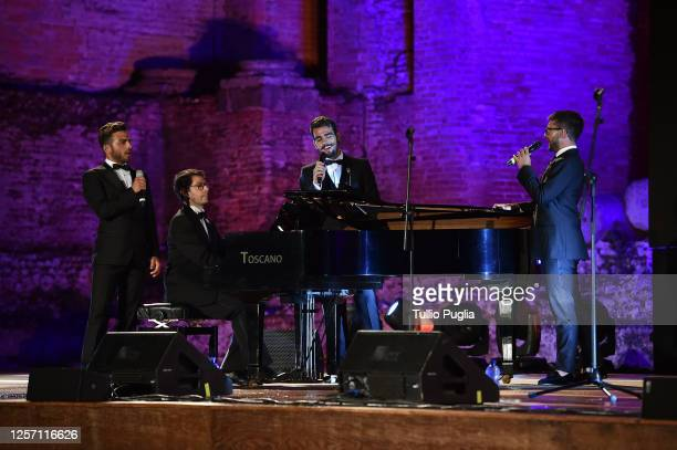 Gianluca Ginoble Ignazio Boschetto and Piero Barone of Il Volo perform during the closing night of the Taormina Film Festival on July 18 2020 in...