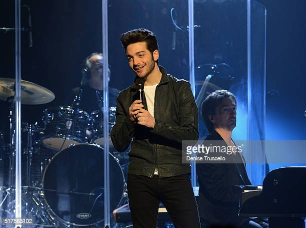 Gianluca Ginoble of the Italian pop trio Il Volo performs at the Pearl at Palms Casino Resort on March 25 2016 in Las Vegas Nevada