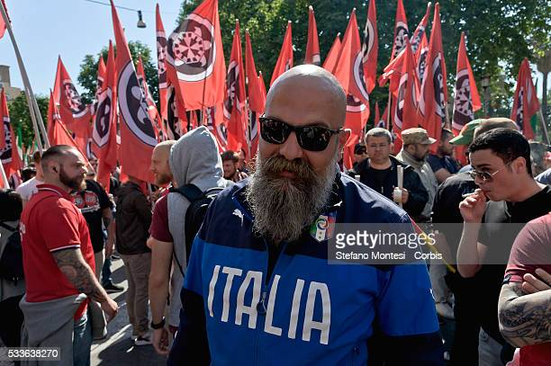 Gianluca Iannone, president Casapound Italy far-right political movement during march against the European Union and immigration policy, on May 21,...